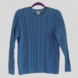 L.L. Bean Blue 100% Cotton Pullover Knit Sweater